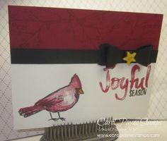 Stampin' Up!, DIY Crafts, handmade Christmas Cards, Joyful Season shoebox swap card by my team member Joanne Cantrell. More info on my blog: http://www.carolpaynestamps.com/2015/09/stampin-up-yes-mam-shoebox-swap-part-1.html