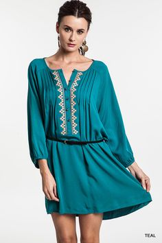 Pleat Tunic Dress With Belt - Three Colors Available