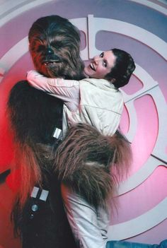 Behind the scenes of Star Wars: The Empire Strikes Back with Chewbacca and Leia.