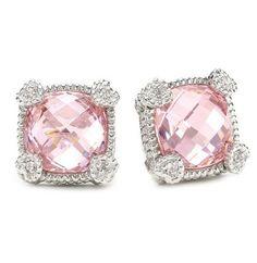 "Judith Ripka ""Linen"" Pink Small Cushion Stone Stud Earrings"