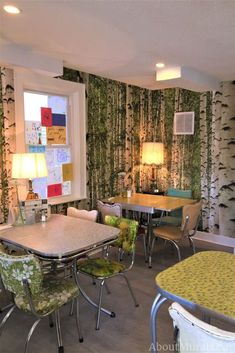 Watch this birch wallpaper on CHCH TV and see it on real customer's walls. The removable wallpaper is an easy DIY project that quickly transforms a room. Birch Tree Mural, Birch Tree Wallpaper, Forest Wallpaper, 1950s Interior, Kitchen Chairs, Easy Diy Projects, Room Inspiration, Restaurant, Tree Forest
