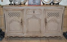 Old French Carved Enfilade in carved oak, circa 1920,  recently painted