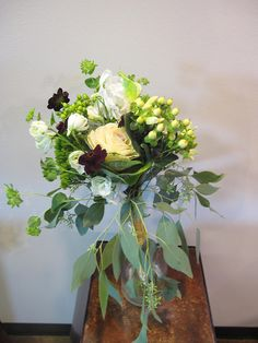 Wildflower Bridesmaid Bouquet Appleton Wedding Flowers, Bridesmaid Bouquet, hypericum berries, kale, roses, chocolate cosmos