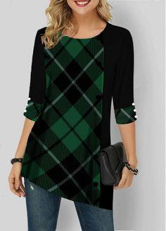Green Plaid Sleeve Asymmetrical Hem Tunic Top Asymmetric Hem Plaid Print Three Quarter Sleeve T Shirt, Green Plaid Sleeve Asymmetrical Hem Tunic Top Asymmetric Hem Plaid Print Thr. Green Plaid Sleeve Asymmetrical Hem Tunic Top Asymmetric Hem P. Stylish Tops For Girls, Trendy Tops For Women, Plaid Outfits, Trendy Fashion, Fashion Fashion, Blazers, Tunic Tops, Quarter Sleeve, Clothes