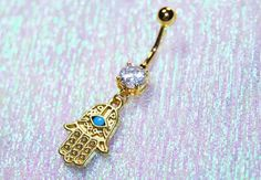 Gold Hamsa Belly Ring Body Piercing Jewelry 14g 14 gauge Gold Ionic Plated 316L Stainless Surgical Steel CZ Gem Dangle Charm Navel by BodyJewelryEnvy