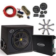 """Kicker 10VC124 Loaded 12"""""""" Subwoofer, Kicker 40CSS654 6.5 Component Speakers & Jensen POWER400 4 Channel Amplifier"""