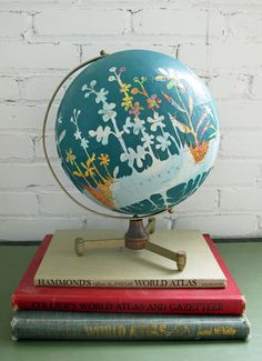Earth Laughs In Flowers/ Hand Painted Vintage Globe
