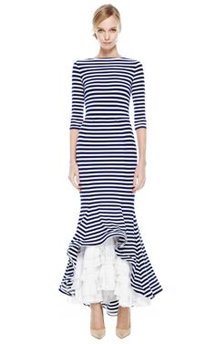 Striped Maxi Dress With Ruched Eyelet Bottom by Natasha Zinko for Preorder on Moda Operandi