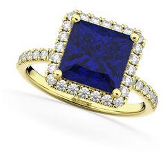 Allurez Square Cut Halo Blue Sapphire & Diamond Engagement Ring 14K... ($6,460) ❤ liked on Polyvore featuring jewelry, rings, yellow gold, 14 karat diamond ring, gold engagement rings, 14k gold ring, yellow gold engagement rings and blue sapphire diamond ring