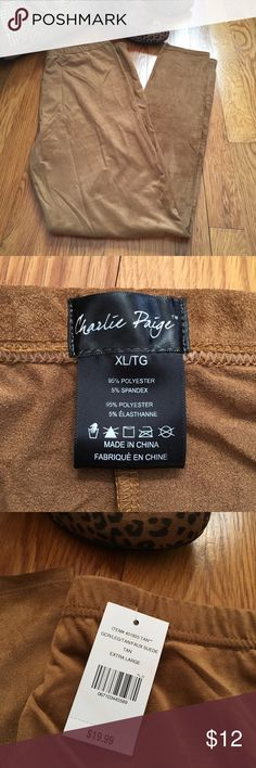 Faux suede Leggings/Pants Faux suede leggings/pants in a tan/mustard color. Elastic waistband. Size is XL but fits more like a large.  95% polyester 5% spandex. See photo #5 for wash instructions. Charlie Paige Pants Leggings