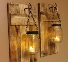 Home Decorating Ideas Rustic DIY wall decoration with mason jars - mood light decoration DIY Wanddeko mit Weckgläsern - Stimmungslicht Deko Home Decorating Ideas Rustic The decoration of the house is like an e. Mason Jar Candle Holders, Mason Jar Sconce, Hanging Mason Jars, Wood Candle Holders, Mason Jar Candles, Diy Hanging, Scented Candles, Rustic Mason Jars, Wood Sconce