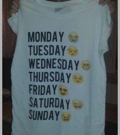 Monday thru Sunday Emoji White T shirt – Fresh-tops.com