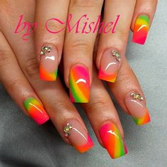 Beautiful Photo Nail Art: 35 Hot Tropical Nail Art Designs For Summer Colorful Nail Designs, Beautiful Nail Designs, Cute Nail Designs, Colorful Nail Art, Rainbow Nails, Neon Nails, My Nails, Neon Rainbow, Fancy Nails