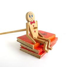 Vintage Wooden Puppet, Limberjack Toy, Jig Doll, Dancing, Painted, Red, Blue.