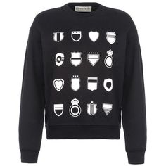 être cécile Multi Emblem Boyfriend Sweatshirt ($155) ❤ liked on Polyvore featuring tops, hoodies, sweatshirts, sweat shirts, black sweat shirt, black top, boyfriend sweatshirt и white long sleeve top