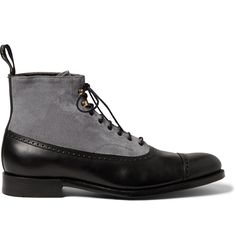 Grenson - Foot The Coacher Suede and Leather Brogue Boots. ** My next purchase**