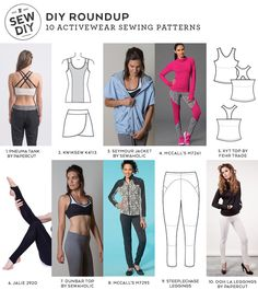 10 Activewear Sewing Patterns | Sew DIY