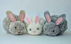 Easter craft kids craft ideas Michael yarn beige gray white pink hare ears