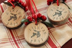 So adorable! Each year cut a piece off your tree stump and write something the year and something significant that has happened or even a different message each year. We do this =)