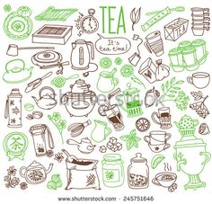 Set Of Doodles, Hand Drawn Rough Simple Tea Theme Sketches, Various Kinds Of Tea, Ingredients And Devices For Tea Making. Vector Isolated On White Background For Cafe Menu, Fliers, Chalkboard - 245751646 : Shutterstock