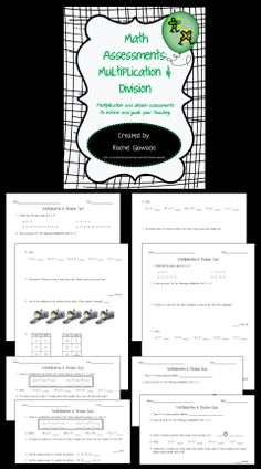 These Multiplication & Division Math Assessments are designed to save you time and energy in your elementary class! They contain 2 tests, 4 quizzes, answer keys, and cover the following topics: multiplication as repeated addition, arrays, multiplication & division facts, fact families, word problems, and patterns.