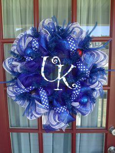 Kentucky Wildcat Deco Mesh Door Wreath by CrazyboutDeco on Etsy, $69.00