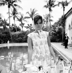 Lilly Pulitzer in her own design in Palm Beach, Florida. Photographed by Slim Aarons in 1955