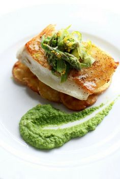 Seared Sea Bass with Basil Pea Puree, Crispy Parmesan Potatoes and Asparagus Slaw | NataliesDailyCrave