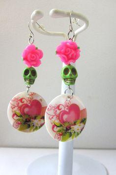 Day Of The Dead Earrings Sugar Skull Dangle by sweetie2sweetie, $10.99