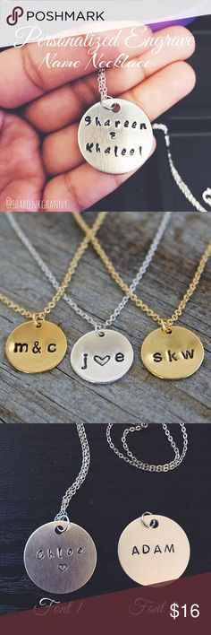 "• Personalized Name / Initials Necklace • Personalized Name Initials Necklaces   🎁 Makes a great Keepsake gift ! If you are interested please comment down below and let me know what you would like on it and than purchase listing.  🔹Available: Silver Only  🔹Chain length: 18"" stainless steel  🔹Pendant: 1"" 🔹 Handmade   * No trades * Price is firm  * Discount on bundles  * 1-2 business day shipping Jewelry Necklaces"