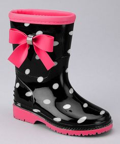 Black Toddler Rain Boots with Pink Monogram by PuddlesNRainBows ...