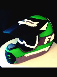 Dirt bike helmet cake.