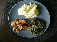 90 Day Challenge Day 41 Dinner: Teriyaki, Garlic, Sesame Chicken Breast with Kale Greens and Cauliflower with Tumeric.