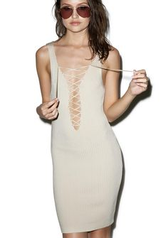 Café Au Lace Up Dress ...enjoy me while I'm still hot, bb! This chic 'n minimal sleeveless dress features a suuuper stretchy 'n comfortable pale…
