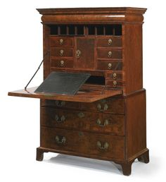 A William III burr & figured walnut fall-front secrétaire cabinet. Late 17th Century.