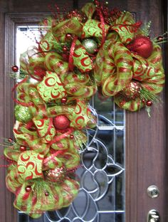 Deco Mesh Lime and Red CANDY CANE WREATH by decoglitz on Etsy