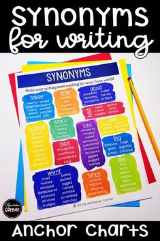 I love this synonym anchor chart for teaching word choice in writing in my elementary classroom! My kids are learning how to switch out boring words for exciting synonyms. I even printed out a little synonym poster for their interactive writing notebooks! Synonyms For Writing, Synonyms Anchor Chart, Writing Anchor Charts, Teaching Synonyms, Grammar Lessons, Writing Lessons, Teaching Writing, Writing Prompts, Special Education Organization