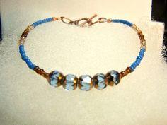 Blue bracelet blue and brown bracelet copper and blue bracelet blue and brown beaded bracelet on copper