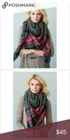 "COMING SOON PLAID OVERSIZED SCARF TWO LAYERED WOVEN PLAID FRAYED OVERSIZED SQUARE SCARF/SHAWL/BLANKET SCARF  100% ACRYLIC  55"" X 55"" Accessories Scarves & Wraps"