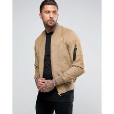 SikSilk Suedette Bomber Jacket In Stone ($93) ❤ liked on Polyvore featuring men's fashion, men's clothing, men's outerwear, men's jackets, stone, mens zip jacket and tall mens jackets