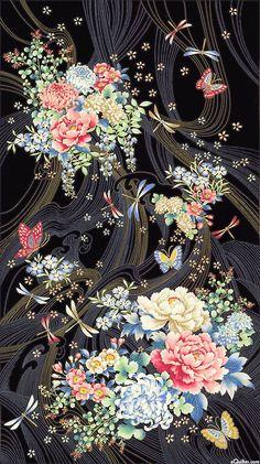 "RONIWABK: Niwa-Tidal Flowers-Black/Gold 24"" x 44"" panel eQuilter.com"