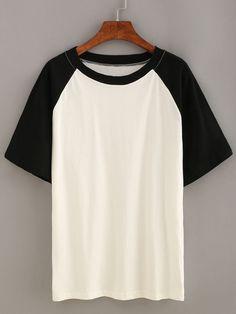 T-shirt manches courtes - 8,96€ https://fr.romwe.com/Black-Short-Sleeve-Raglan-T-shirt-p-161437-cat-669.html