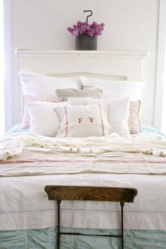 Could also use antique fireplace mantel as head board