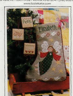 LIZZIE KATE ANGEL CHRISTMAS STOCKING COUNTED CROSS STITCH