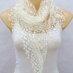 White embroidery lace scarf spring summer lace scarf by xyuezw, $13.00