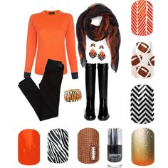 Bengals game day look styled by me:) Order your Jamberry wraps at www.easypeasynailart.jamberrynails.net #bengals #football #nailart #jamberry #orange #black