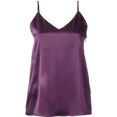 H Beauty&Youth plain cami top (€205) ❤ liked on Polyvore featuring tops, purple cami, silk camisole, cami tank tops, silk camisole top and silk cami tops