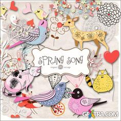 Scrap Set - Spring Song PNG Files