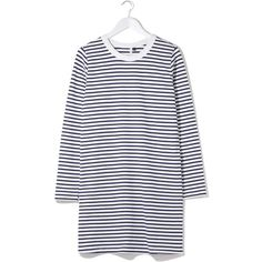 Striped Long Sleeve Tee Dress by Boutique (4,680 MKD) ❤ liked on Polyvore