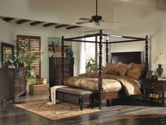 BARBADOS - 5pcs TRADITIONAL DARK BROWN QUEEN KING CANOPY BEDROOM SET FURNITURE #Tropical